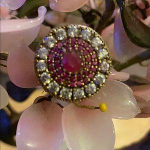 Vintage 925 Kashmir ruby &topaz ring